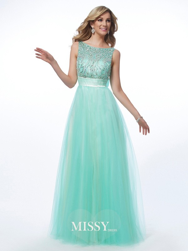 A-Line Bateau Beading Long Net Sleeveless Dresses