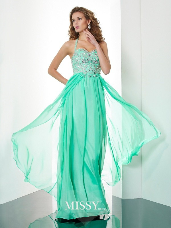 Princess Halter Sleeveless Floor-Length Chiffon Beading Dresses