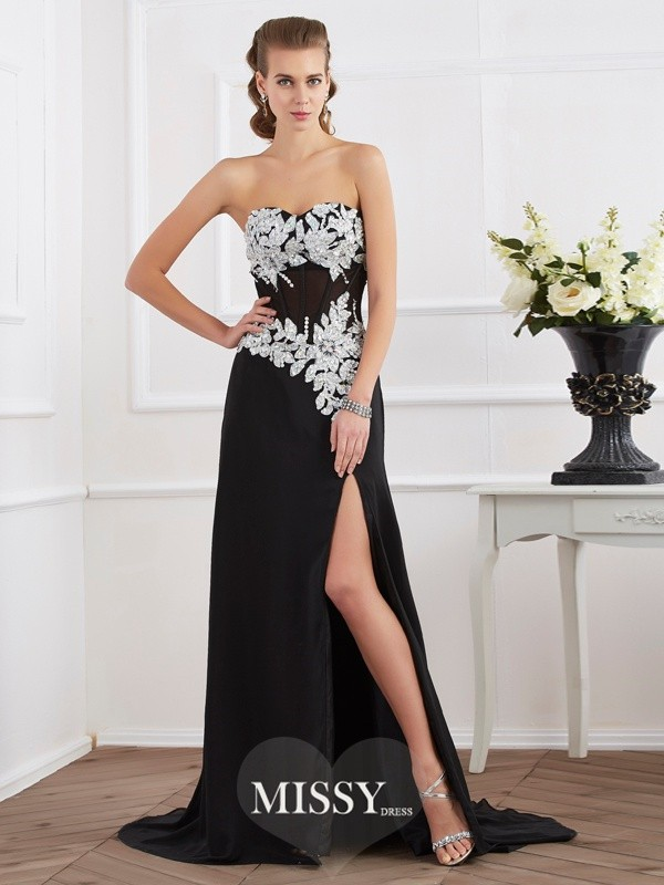 Sheath Sleeveless Sweetheart Beading Applique Chiffon Dresses
