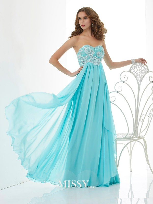 Princess Sweetheart Beading Chiffon Sleeveless Floor-Length Dresses