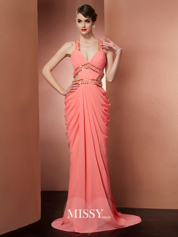 Sheath Straps Sleeveless Floor-length Chiffon Beading Dresses