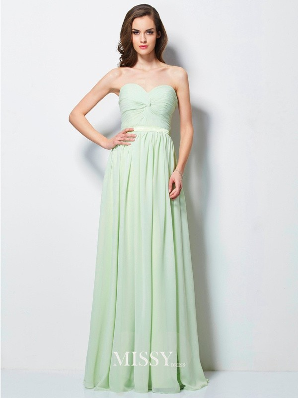 Princess Sweetheart Sleeveless with Ruffles Floor-length Chiffon Dresses
