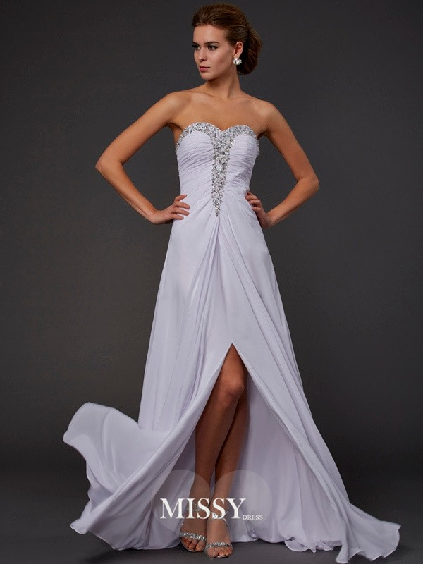 Sheath/Column Strapless Sweetheart Floor-length Chiffon Beading Dresses