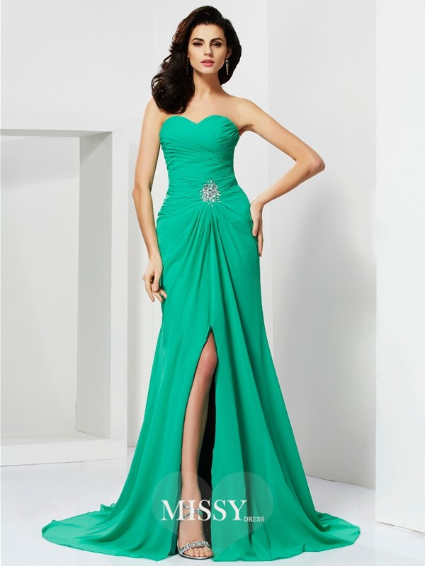 Column Sweetheart Chiffon Sleeveless Beading /Brush Train Dresses