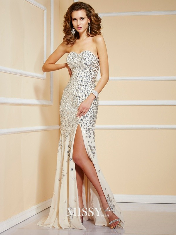 Sheath Sweetheart Sweep/Brush Train Beading Chiffon Sleeveless Dresses