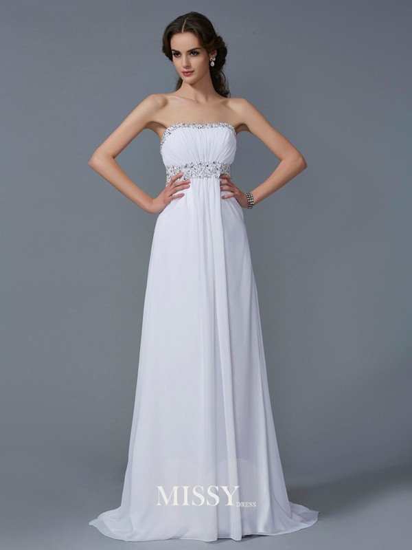 A-Line/Princess Strapless Chiffon Sweep/Brush Train Beading Dresses