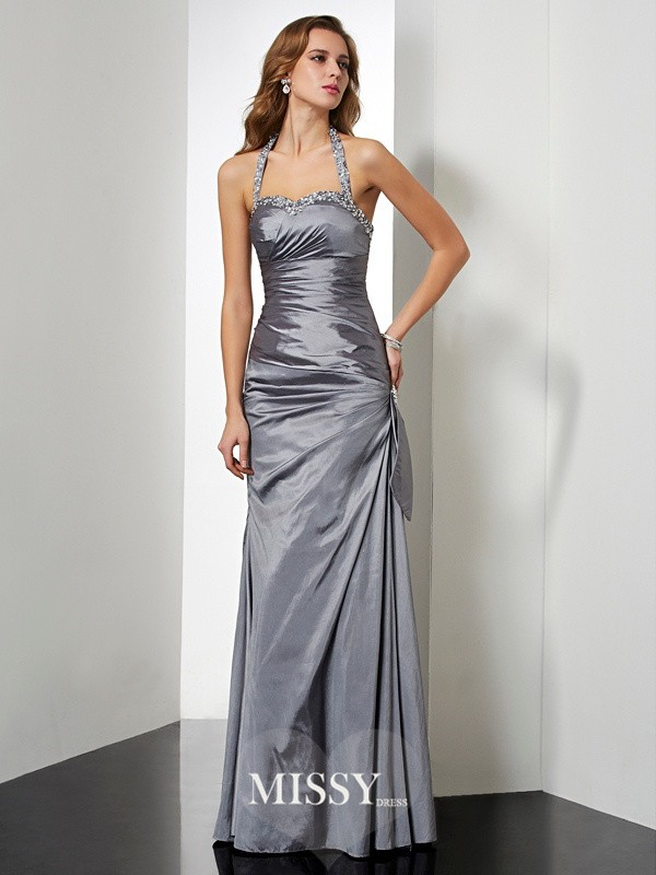 Trumpet/Mermaid Sleeveless Halter Beading Long Taffeta Dresses