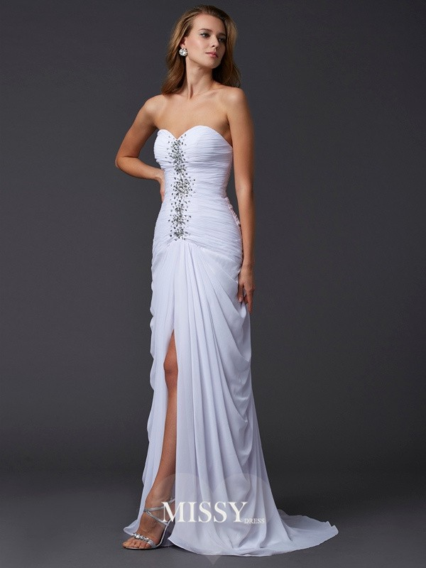 Sheath/Column Strapless Sweetheart Beading Sweep/Brush Train Chiffon Dresses