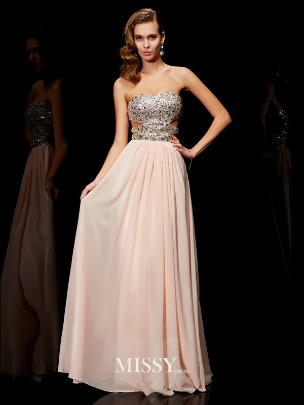 A-Line Sleeveless Rhinestone Sweetheart Floor-Length Chiffon Dresses