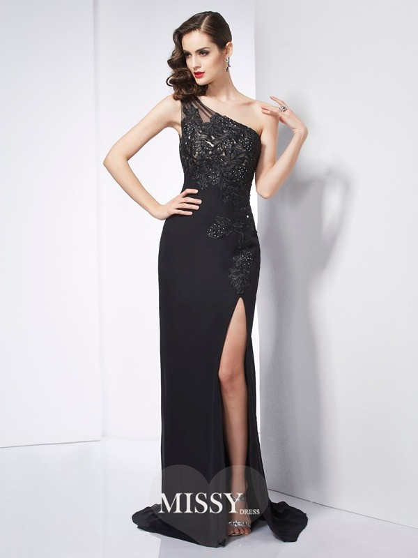 Sheath/Column One-Shoulder Sleeveless Applique Sweep Chiffon Dresses