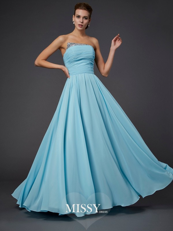 Sheath Beading Strapless Floor-Length Sleeveless Chiffon Dresses