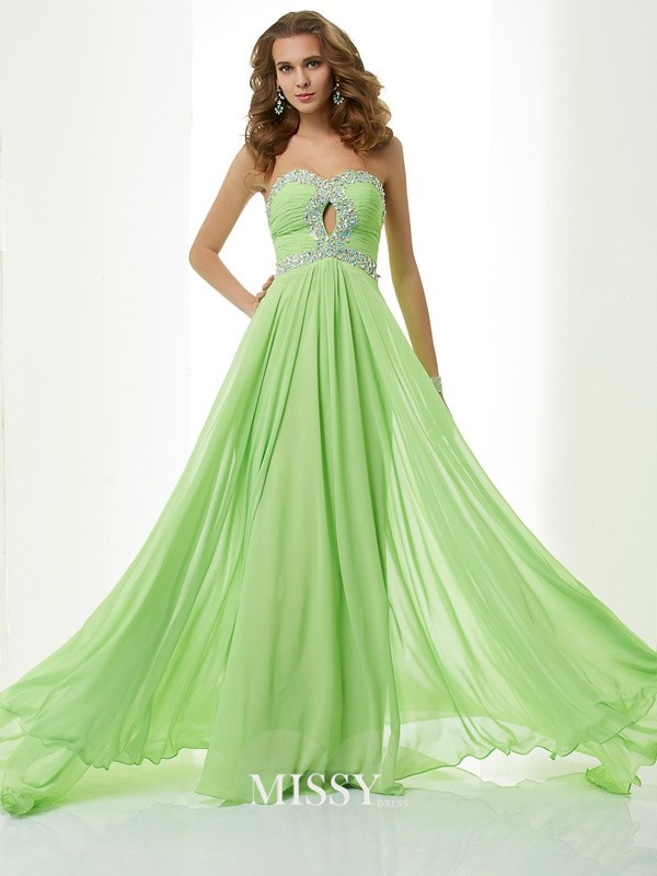 A-Line Sweetheart Beading Sleeveless Brush Train Chiffon Dresses