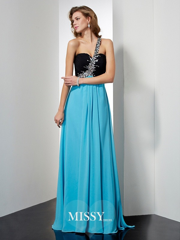 Princess One-Shoulder Beading Sleeveless Floor-Length Chiffon Dresses