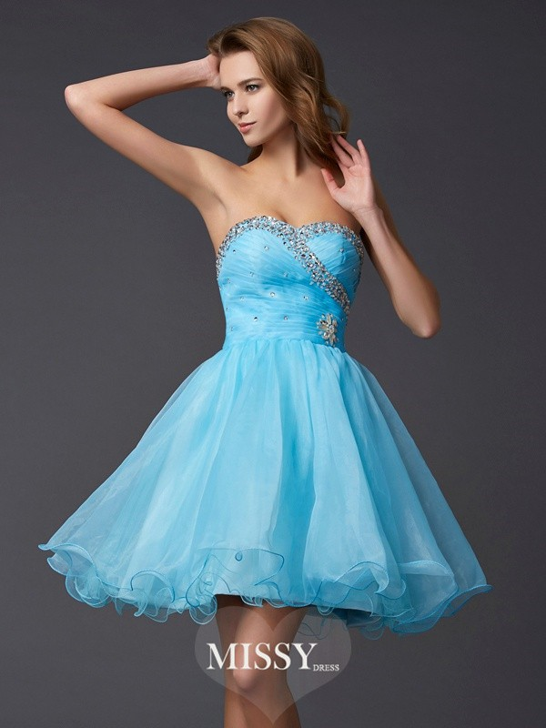 A-Line/Princess Sleeveless Sweetheart Beading Short Tulle Dresses