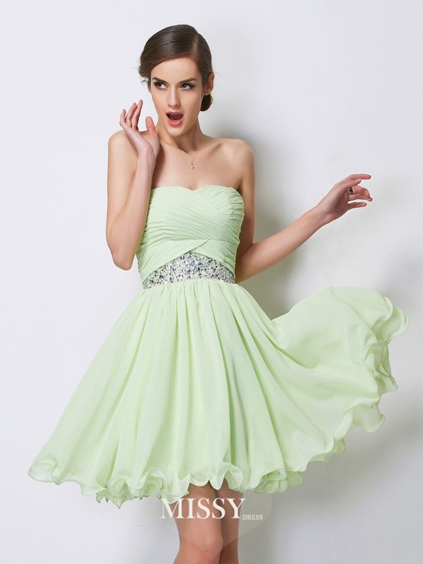 Princess Sweetheart Sleeveless Beading Chiffon Short/Mini Dresses