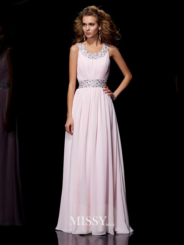 A-Line/Princess Scoop Floor-Length Beading Chiffon Dresses