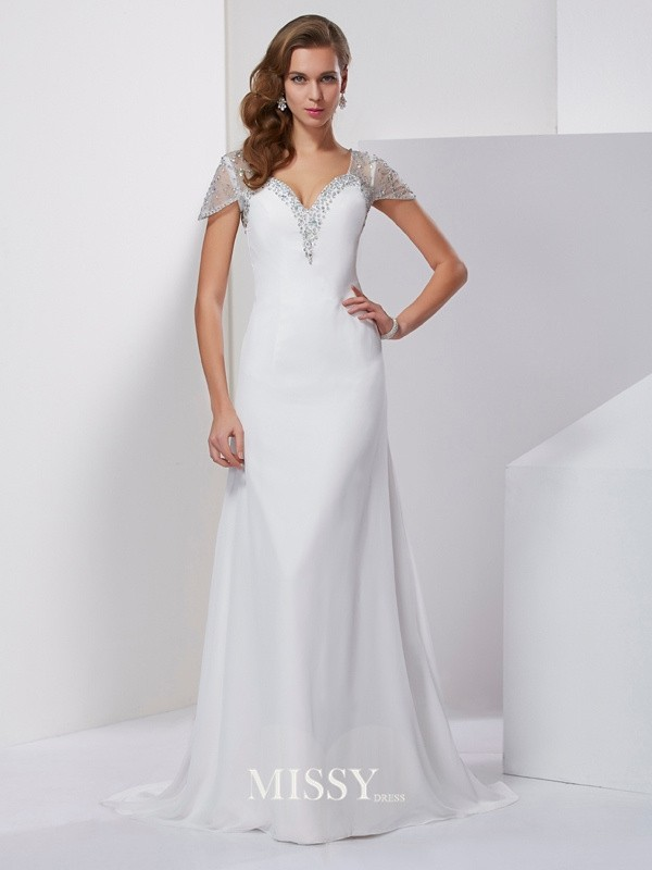 A-Line Sweetheart Short Sleeves Beading Chiffon Sweep/Brush Train Dresses
