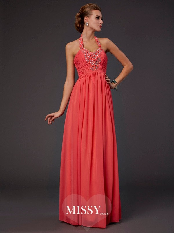 A-Line/Princess Floor-Length Halter Hand-Made Flower Beading Chiffon Dresses