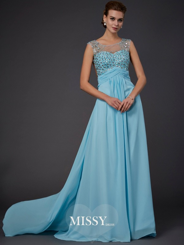 Princess Sleeveless Scoop Beading Sweep/Brush Train Chiffon Dresses