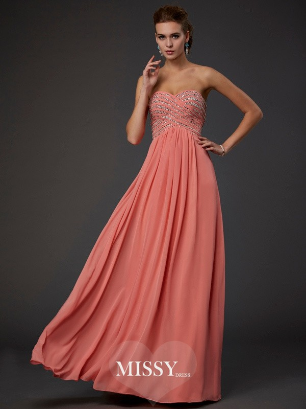 Sweetheart Beading Chiffon Floor-length Dresses