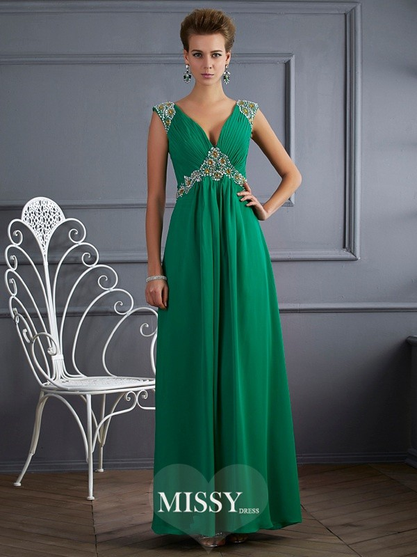 Princess V-neck Short Sleeves Chiffon Beading Ankle-Length Dresses