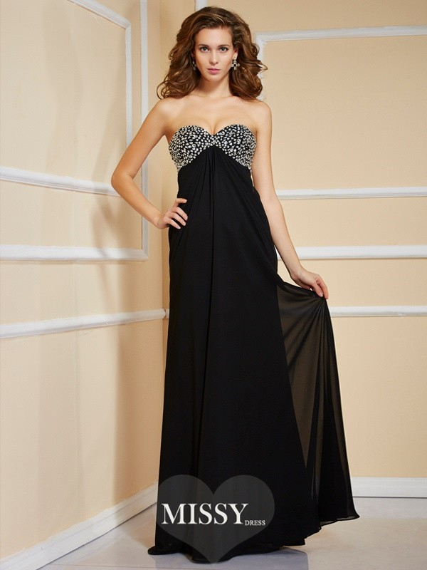 Column Sleeveless Sweetheart Beading Long Chiffon Dresses