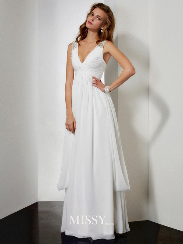 A-line Sleeveless V-neck Beading Floor-length Chiffon Dresses
