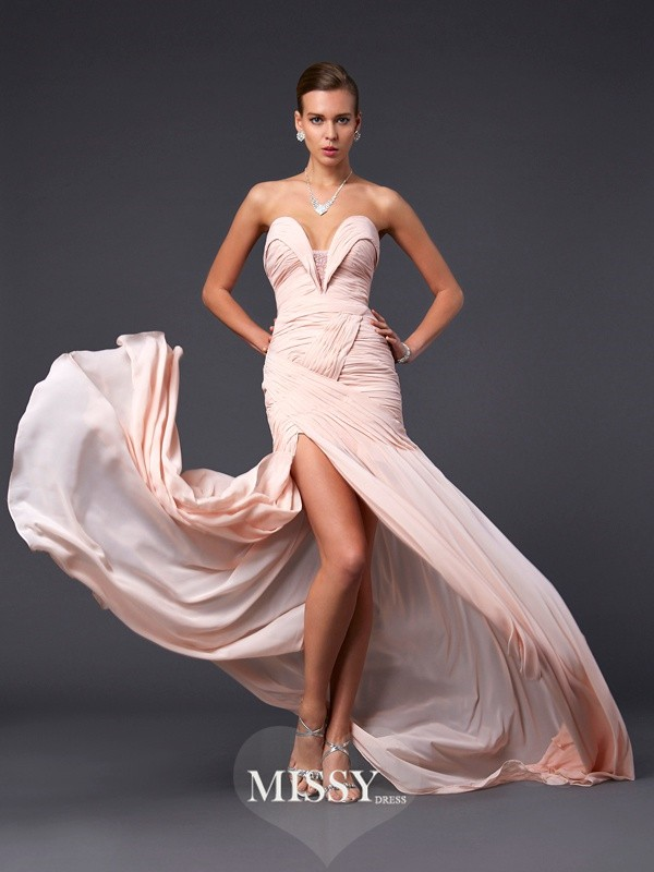 Sheath Sleeveless Sweetheart Sweep/Brush Train Chiffon Dresses