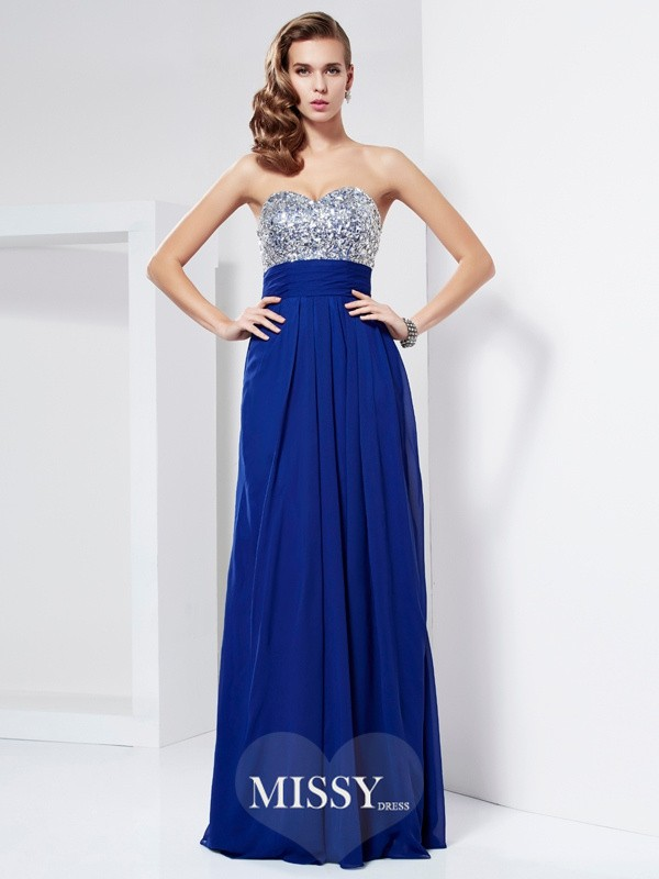 Sheath/Column Sweetheart Sleeveless Floor-Length Rhinestone Chiffon Dresses