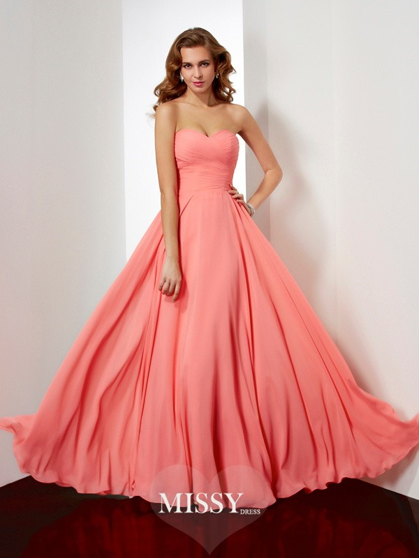 A-line/Princess Sweetheart Pleating Floor-Length Chiffon Dresses
