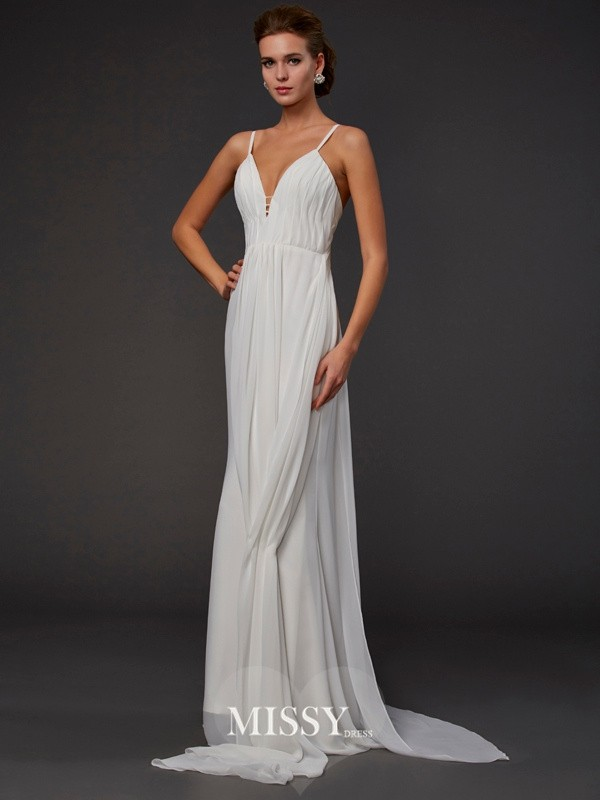 Trumpet Ruffles V-neck Sleeveless Floor-length Chiffon Dresses