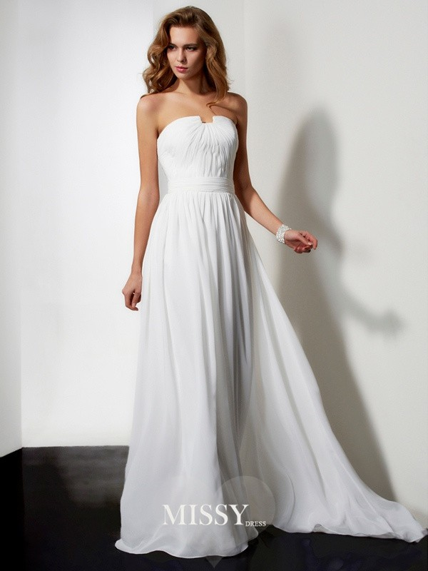 A-line/Princess Sleeveless Strapless Ruffles Sweep/Brush Train Chiffon Dresses