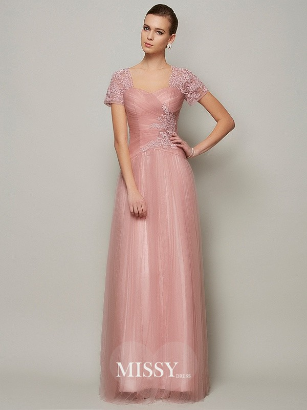 Princess Short Sleeves Sweetheart Floor-Length Satin Beading Dresses