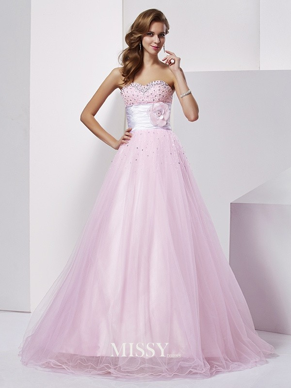 Ball Gown Strapless Sweetheart Long Net Elastic Woven Satin Beading Dresses