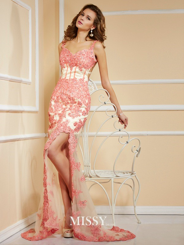 Sheath/Column Sleeveless Sweetheart Asymmetrical Applique Lace Dresses