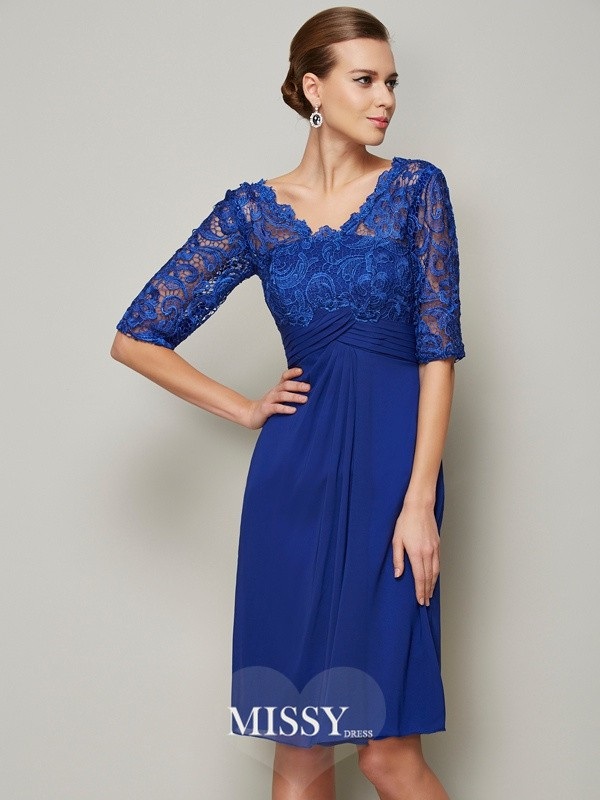Column V-neck Lace Chiffon 1/2 Sleeves Knee-Length Mother of the Bride Dresses