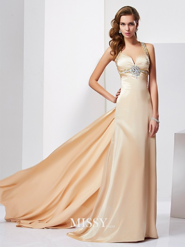 Sheath/Column Ruffles Halter Sleeveless Sweep/Brush Train Silk like Satin Dresses