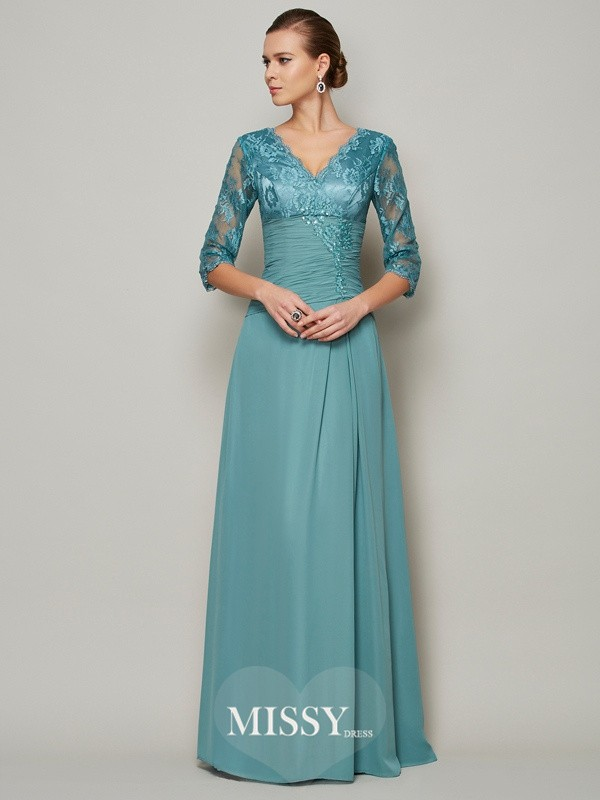 A-Line/Princess Chiffon High Neck 3/4 Sleeves Lace Mother Of the Bride Dresses