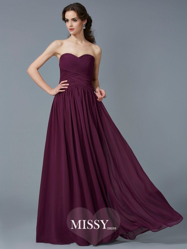 A-Line/Princess Sweetheart Pleats Long Chiffon Dress