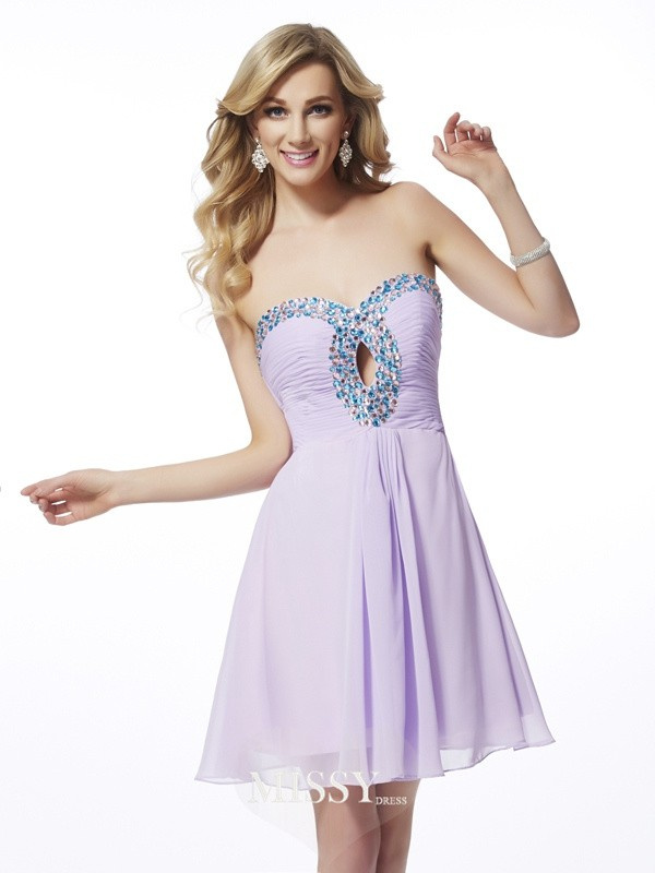 Sheath/Column Sweetheart Beading Sleeveless Chiffon Short/Mini Dresses