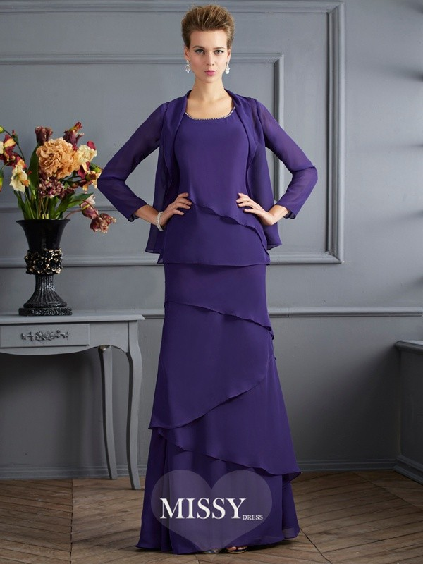 Sheath/Column Scoop Floor-Length Chiffon Ruffles Mother Of The Bride Dresses