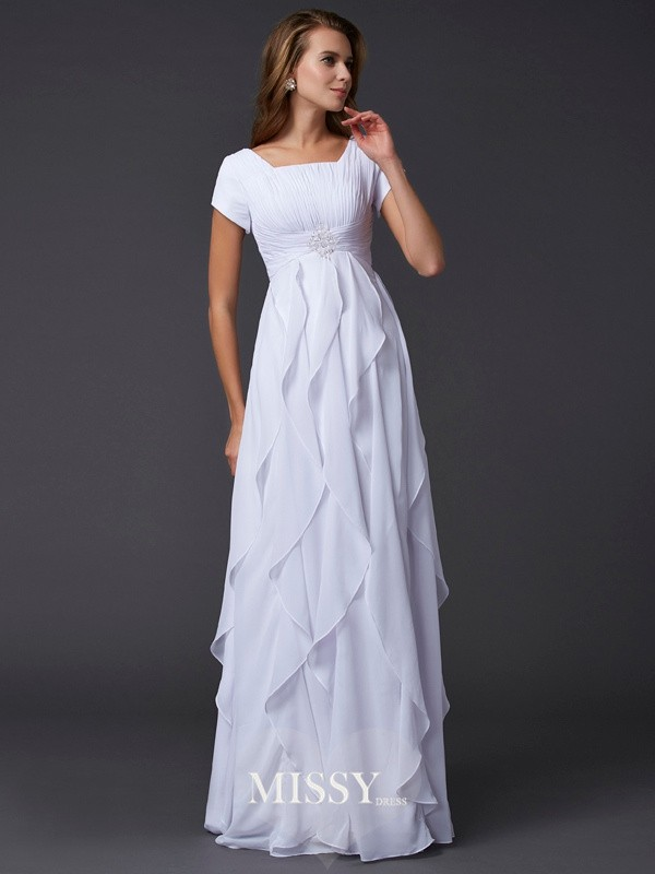 Sheath/Column Ruffles Short Sleeves Square Chiffon Long Dresses