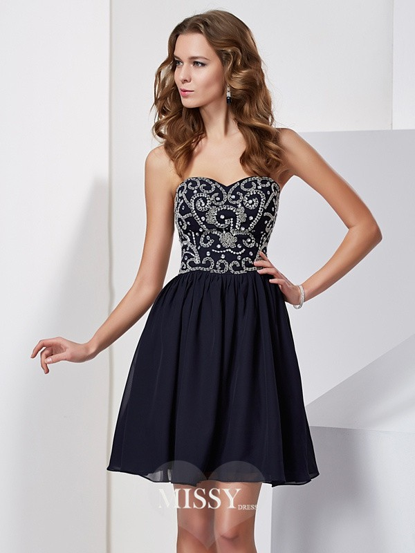 A-Line/Princess Sleeveless Sweetheart Embroidery Short/Mini Chiffon Dresses