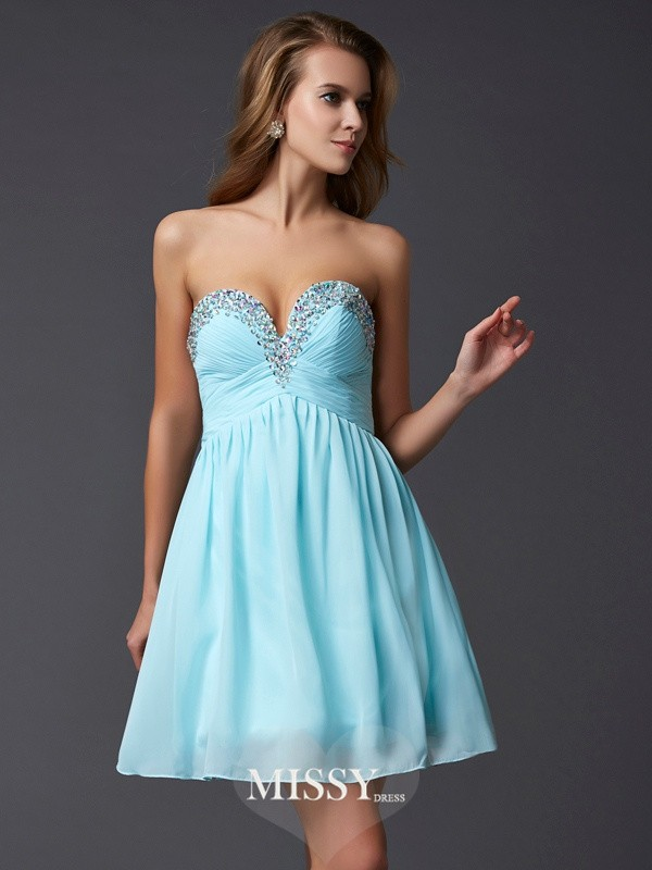 A-Line/Princess Short/Mini Chiffon Beading Sweetheart Sleeveless Dresses