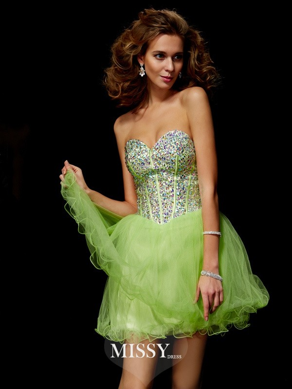A-Line/Princess Sequin Sweetheart Beading Short/Mini Elastic Woven Satin Dresses