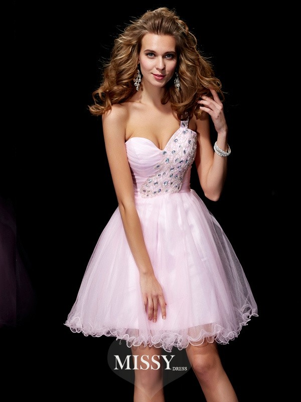A-Line/Princess One Shoulder Sleeveless Beading Short/Mini Elastic Woven Satin Dresses