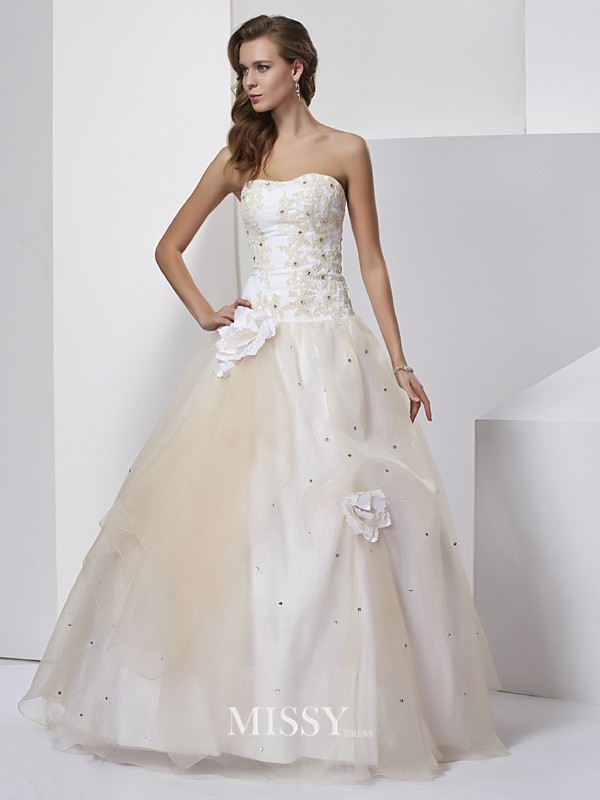 Ball Gown Hand-Made Flower Sweetheart Floor-length Tulle Dresses