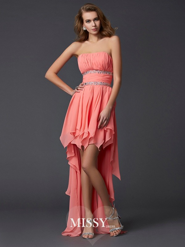 Empire Strapless Sleeveless Ruffles Chiffon Asymmetrical Dresses