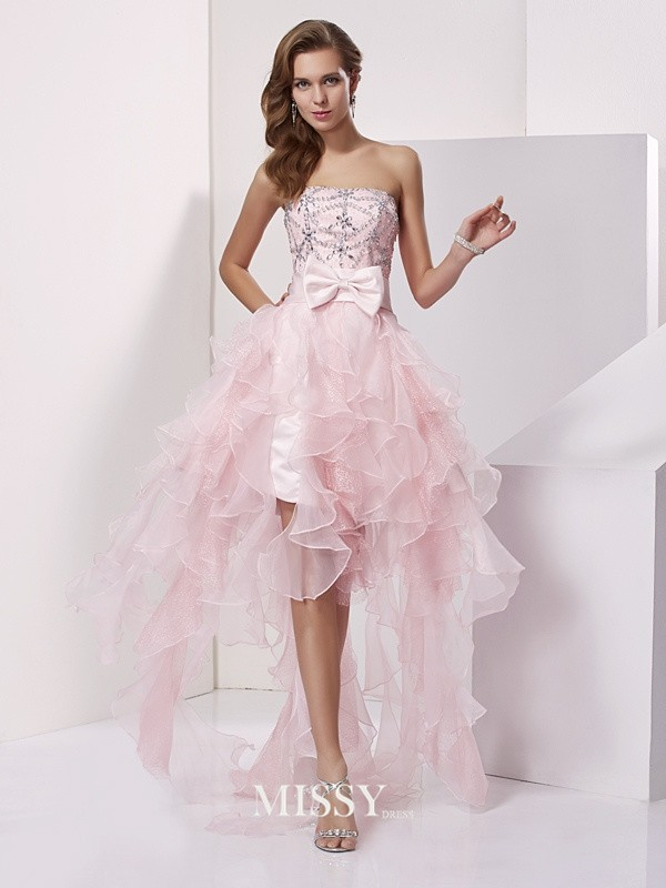 A-line/Princess Organza Strapless Beading Asymmetrical Sleeveless Dresses