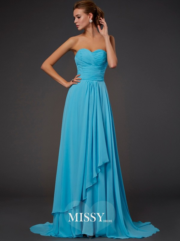 A-line/Princess Pleats Sweetheart Sweep/Brush Train Chiffon Dresses